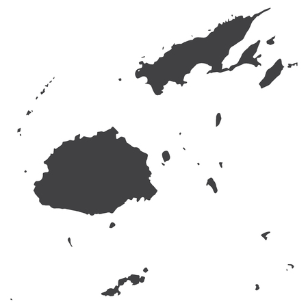 Fiji map in black on a white background. Vector illustration