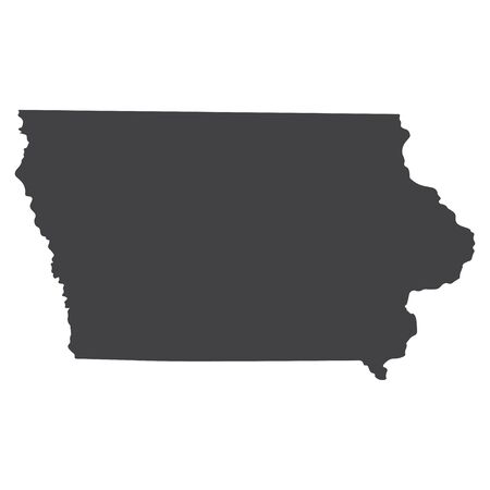 geographically: Iowa state map in black on a white background. Vector illustration