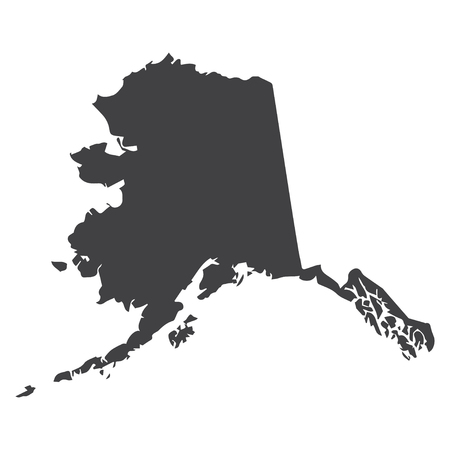 白の背景に黒でアラスカ州地図。ベクトル図