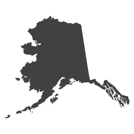 De staatskaart van Alaska in zwart op een witte achtergrond. Vector illustratie Stock Illustratie