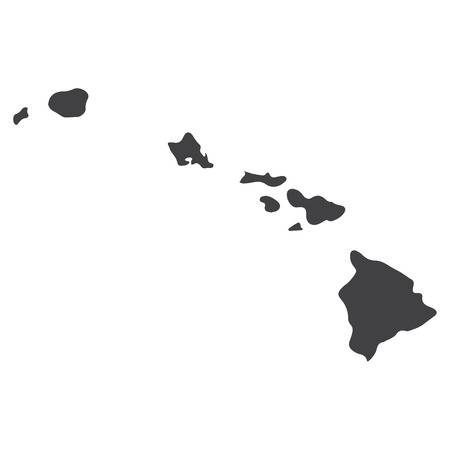 Hawaii state map in black on a white background. Vector illustration