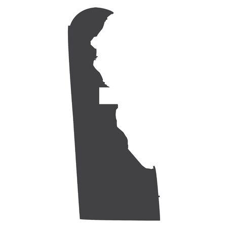 Mapa del estado de Delaware en negro sobre fondo blanco. Ilustración vectorial
