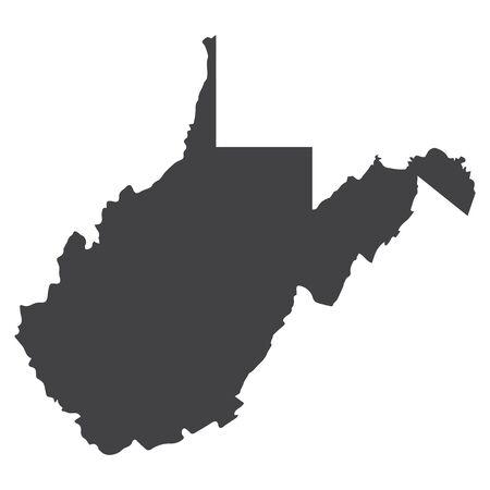 Carte d'État de Virginie occidentale en noir sur fond blanc. Illustration vectorielle Vecteurs