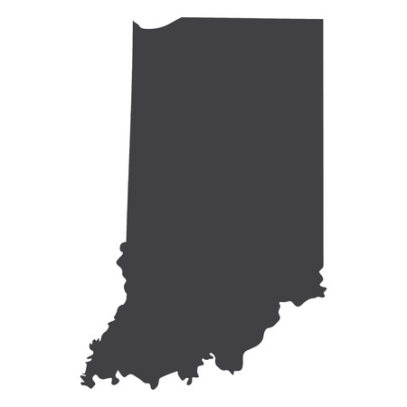 Indiana state map in black on a white background. Vector illustration