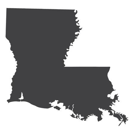 Mapa del estado de Luisiana en negro sobre un fondo blanco. Ilustración vectorial