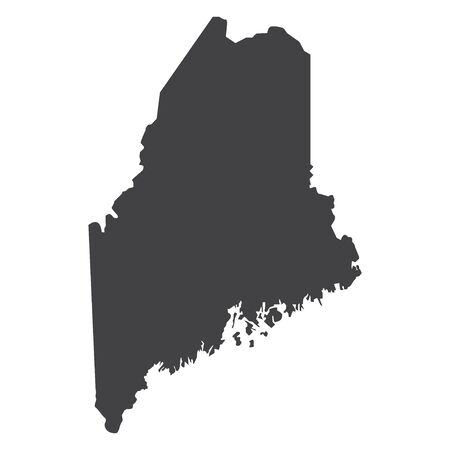 Maine state map in black on a white background. Vector illustration  イラスト・ベクター素材