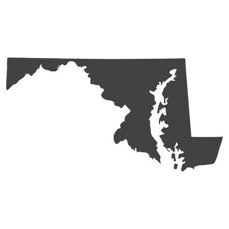 Mapa del estado de Maryland en negro sobre un fondo blanco. Ilustración vectorial