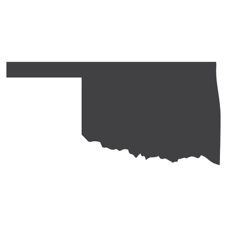 Oklahoma state map in black on a white background. Vector illustration