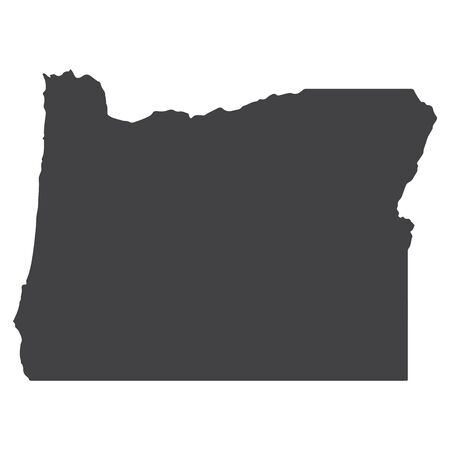 Oregon state map in black on a white background. Vector illustration