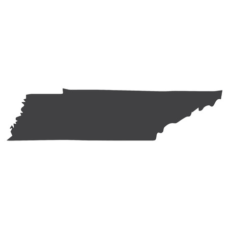 Tennessee state map in black on a white background. Vector illustration