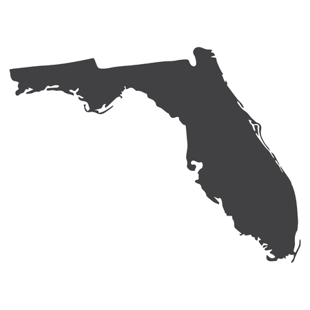 Florida state map in black on a white background. Vector illustration