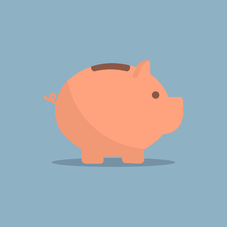 Piggy bank icon with shadow in a flat design