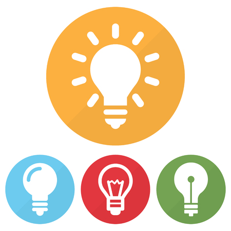 Set of different lightbulb icon on a circles. Vector illustration Illustration