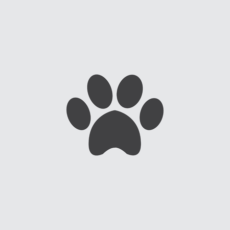 cute dog: Animal paw icon in a flat design in black color. Vector illustration eps10