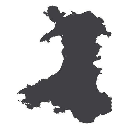 britannia: Wales map in black on a white background. Vector illustration