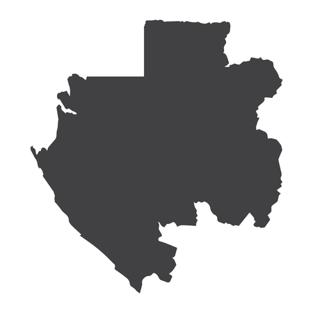 Gabon map in black on a white background. Vector illustration