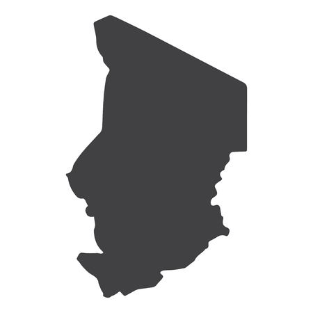 Chad map in black on a white background. Vector illustration
