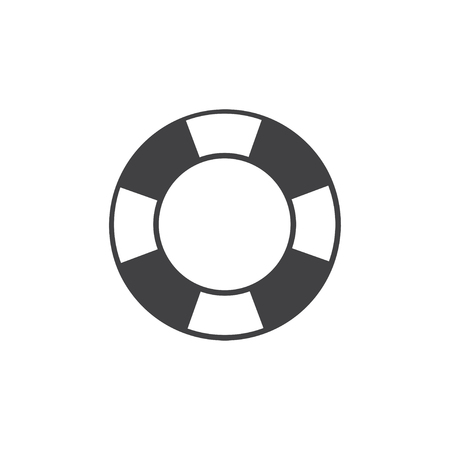 Life buoy icon in black on a white background. Vector illustration