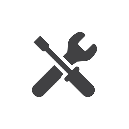 Wrench icon in black on a white background. Vector illustration Illustration