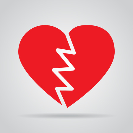 heartsick: Red broken heart icon with shadow on a gray background Illustration