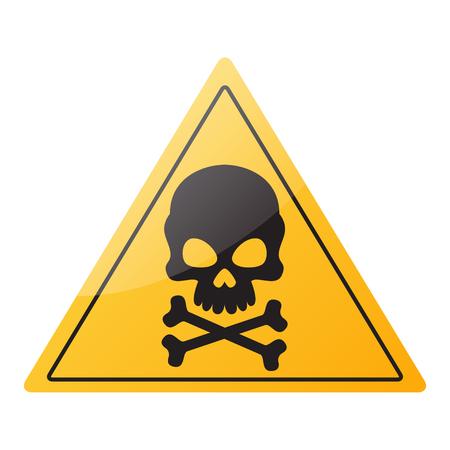 Danger sign. Skull and crossbones on a signboard. Vector illustration
