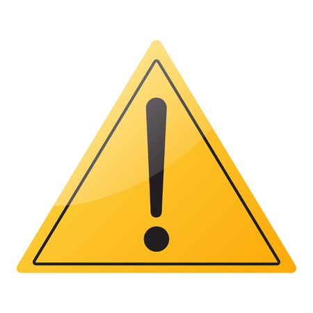 yellow beware: Warning sign icon, isolated on white background, vector illustration.