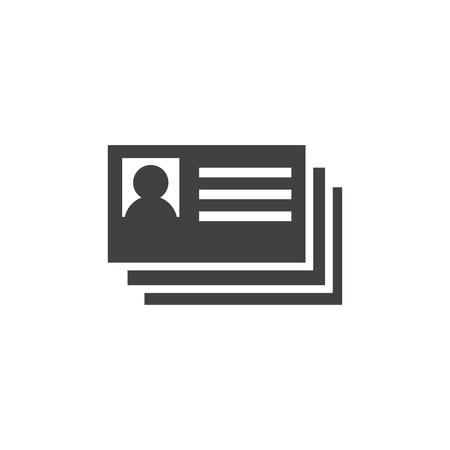 ID card icon in black on a white background. Vector illustration Ilustração