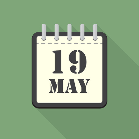 scheduler: Calendar with 19 may in a flat design. Vector illustration