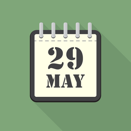 scheduler: Calendar with 29 may in a flat design. Vector illustration Illustration