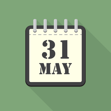 scheduler: Calendar with 31 may in a flat design. Vector illustration