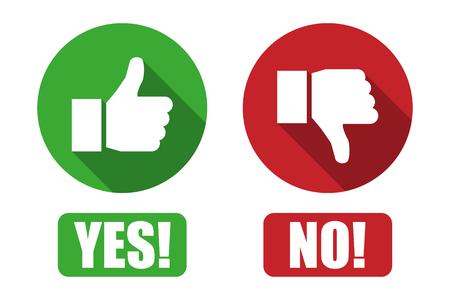 Sì e nessun pulsante con i pollici in su e thumbs down icone