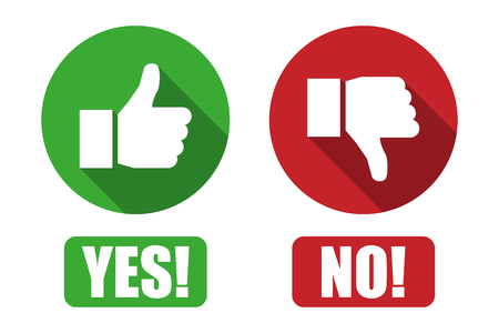 Yes and no button with thumbs up and thumbs down icons Vectores