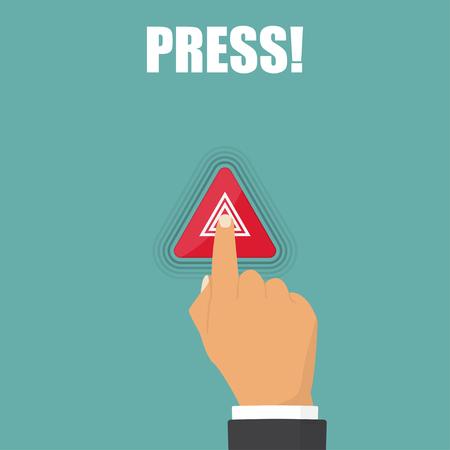 Hand press on hazard warning lights flashes button in car Illustration