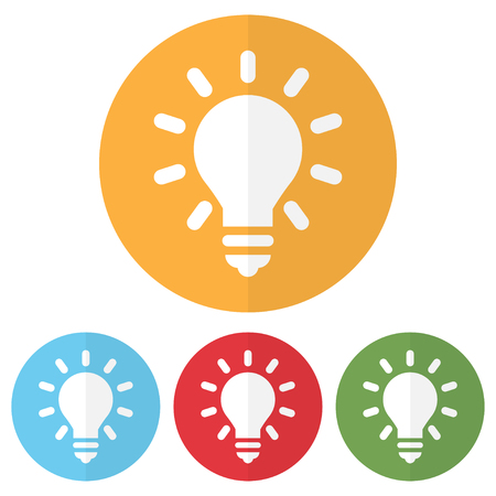 Set of lightbulb icon on a colorful circles. Vector illustration Illustration