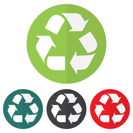 Set of recycle icon on a colorful circles. Vector illustration