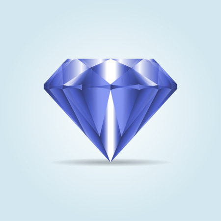 Blue realistic diamond, jewelry, gemstone with shadow. Illustration