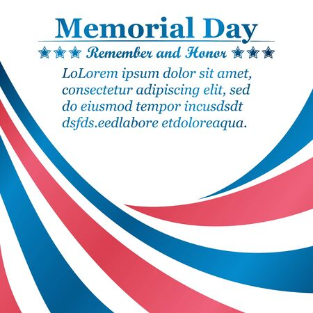 Memorial Day background with ribbons of the color of the USA flag