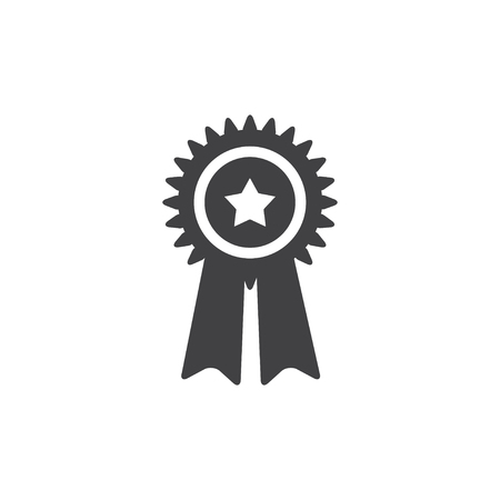 Medal icon in black on a white background. Vector illustration