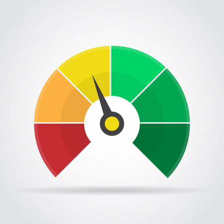 Speedometer icon. Colorful infographic gauge element with shadow