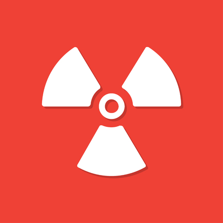 Radiation icon with shadow in a flat design. Vector illustration