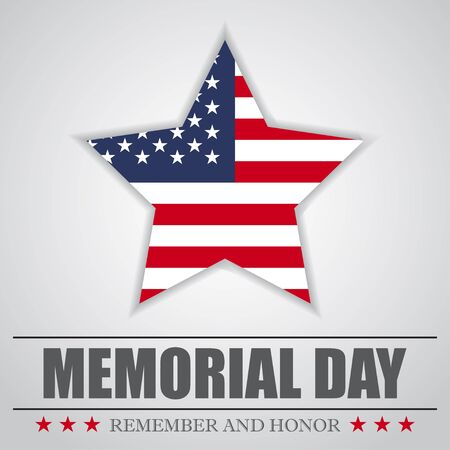 Memorial Day background with USA star. Vector illustration