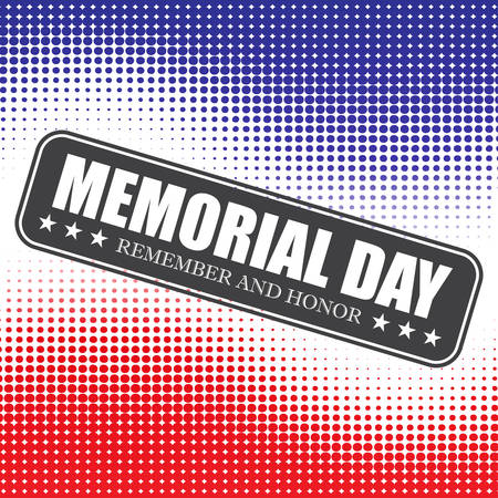 Memorial Day background with halftone . Vector illustration
