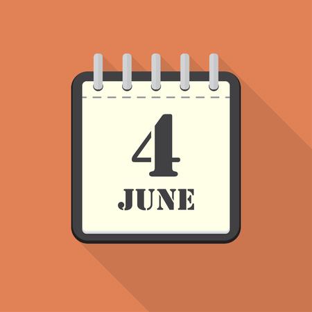 scheduler: Calendar with 4 june in a flat design. Vector illustration