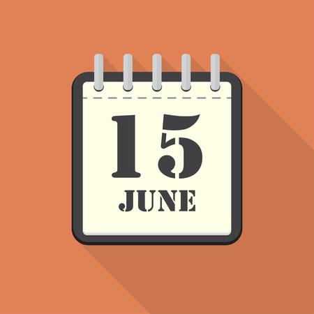 scheduler: Calendar with 15 june in a flat design. Vector illustration Illustration