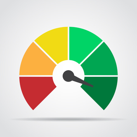 Speedometer icon. Colorful infographic gauge element with shadow. Vector illustration Illustration