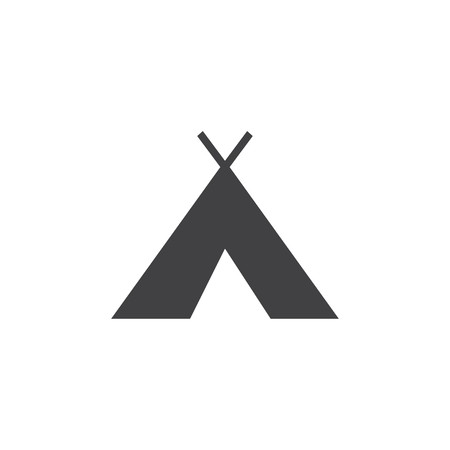 Wigwam icon in black on a white background. Vector illustration Çizim