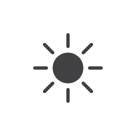 Sun icon in black on a white background. Vector illustration Vectores