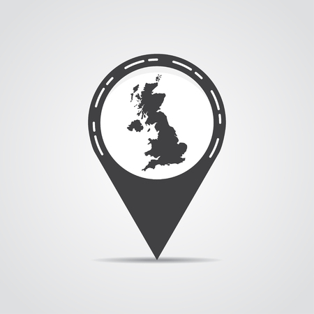 orange county: Map pointer with UK map on a gray background. Vector illustration