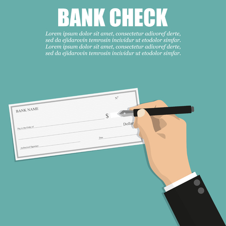 Businessman hand holding pen with bank check