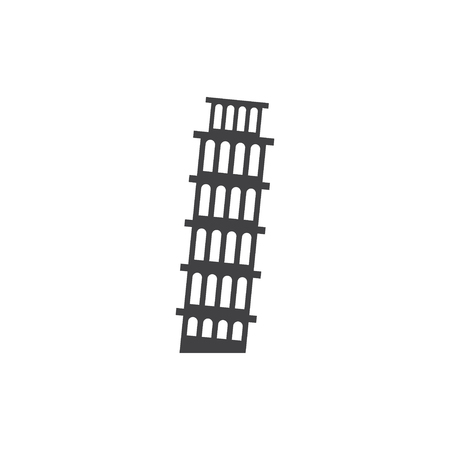 Leaning Tower of Pisa icon in black on a white background. Vector illustration Illustration